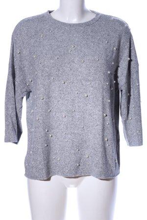 Zara Kraagloze sweater lichtgrijs gestippeld casual uitstraling