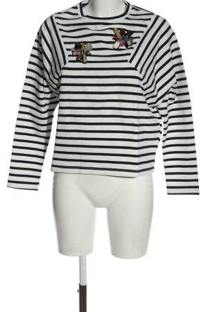 Zara Rundhalspullover schwarz-weiß Casual-Look