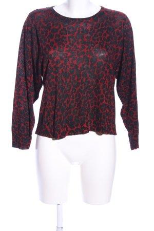 Zara Jersey de cuello redondo rojo-negro estampado de animales look casual