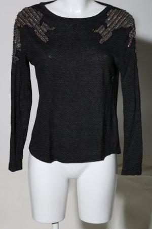 Zara Pull ras du cou noir-argenté imprimé allover style décontracté