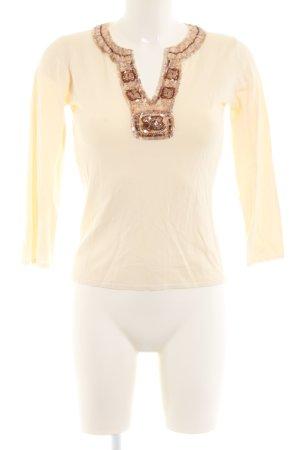 Zara Rundhalspullover creme-bronzefarben Mustermix Casual-Look