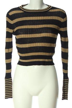 Zara Rundhalspullover schwarz-goldfarben Streifenmuster Casual-Look