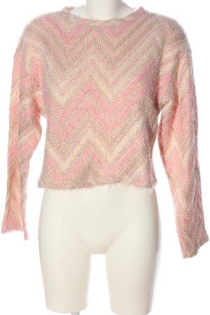 Zara Rundhalspullover pink-wollweiß Streifenmuster Casual-Look
