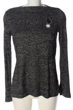Zara Rundhalspullover schwarz-weiß Webmuster Casual-Look