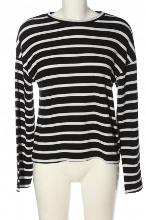 Zara Rundhalspullover schwarz-weiß Streifenmuster Casual-Look