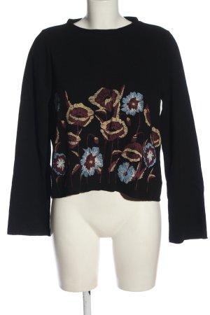 Zara Rundhalspullover schwarz Blumenmuster Casual-Look