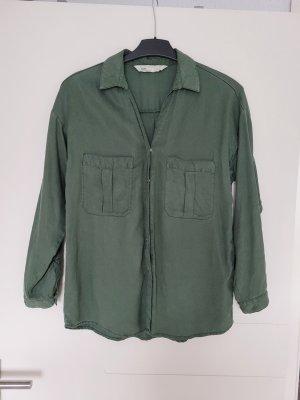 Zara S Bluse Shirt grün khaki