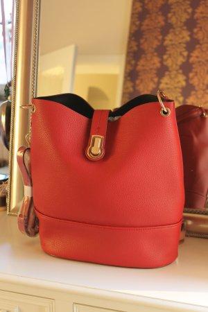 Zara Crossbody bag dark red imitation leather