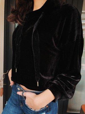 Zara Samt hoodie in schwarz
