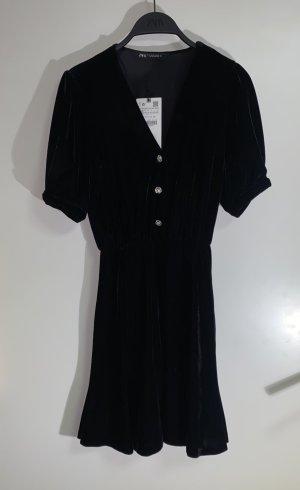 Zara Samt Kleid Minikleid Schmuckknöpfe V Ausschnitt XS 34