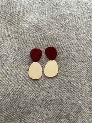 Zara Boucle d'oreille incrustée de pierres doré-rouge foncé