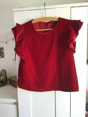 Zara Top à volants rouge-rouge brique velours