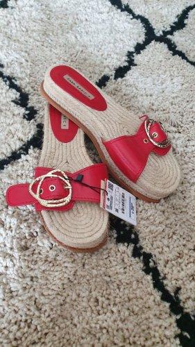 Zara Sandale Pantolette rot gold 38 neu