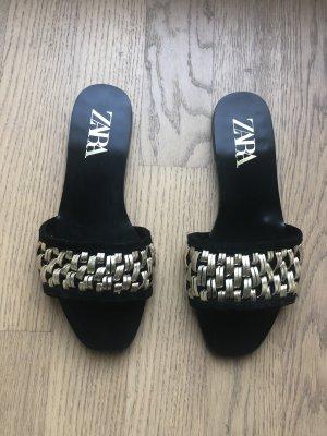 ❤️ ZARA Sandalen 36 Schwarz-Gold Leder Flach ❤️