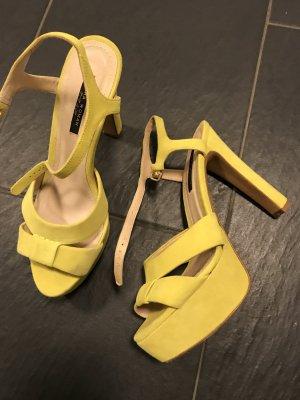 Zara Sandalen Echtes Leder gelb frühling blogger, High Heels Gr 39 gelb Pumps