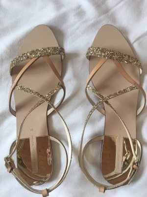 Zara Basic Sandalo con cinturino beige-oro