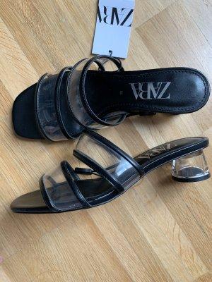 Zara Sandalen Gr 36 schwarz durchsichtig
