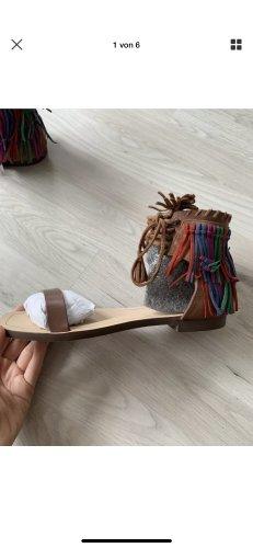Zara Basic Sandały rzymskie brązowy