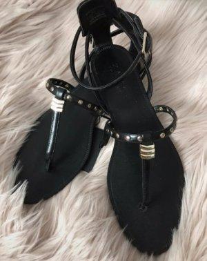 Zara Toe-Post sandals black-gold-colored