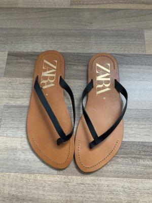 Zara Flip flop sandalen zwart-cognac Leer