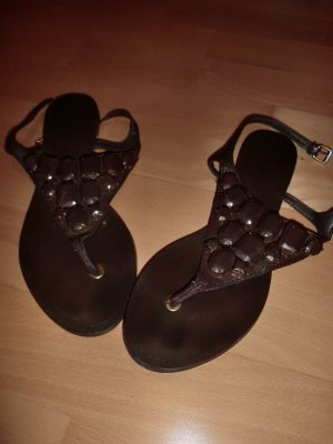 Zara T-Strap Sandals brown red