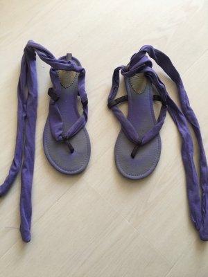 Zara Sandały japonki z rzemykami fiolet