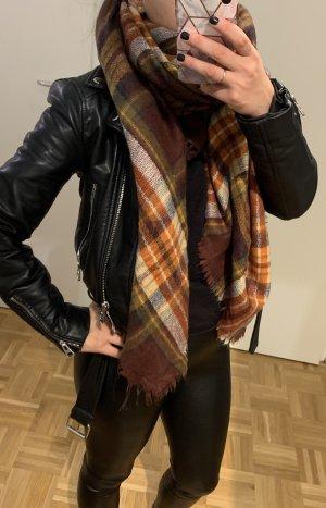Zara Bufanda de punto rojo amarronado