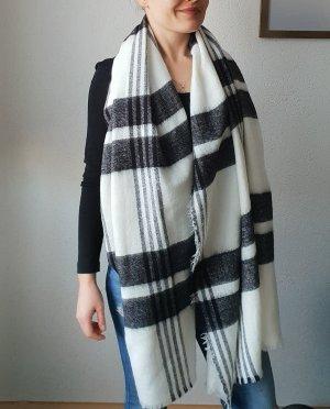 Zara Gebreide sjaal wit-zwart