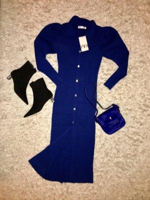 Zara Vestido tejido azul