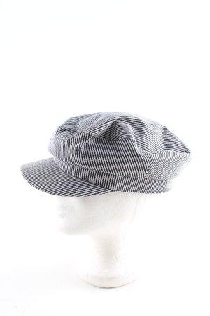 Zara Cappello con visiera nero-bianco motivo a righe stile casual