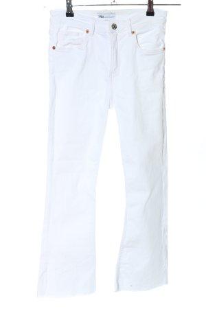 Zara Pantalone a zampa d'elefante bianco stile casual
