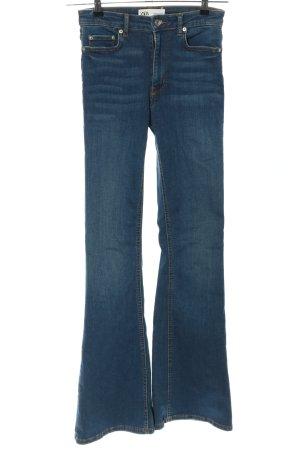 Zara Pantalone a zampa d'elefante blu stile casual