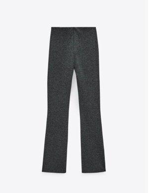Zara Pantalón de campana gris-negro