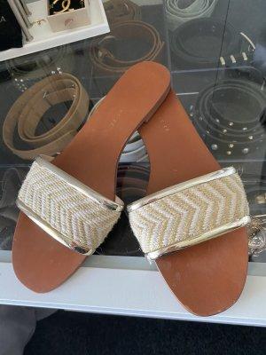 Zara Beach Sandals light brown-gold-colored