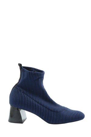Zara Schlüpf-Stiefeletten blau-schwarz Streifenmuster Elegant