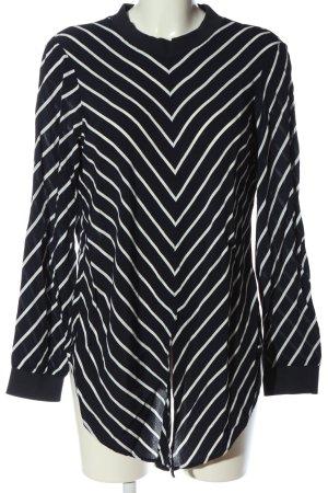 Zara Schlupf-Bluse schwarz-weiß Streifenmuster Casual-Look