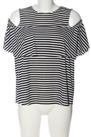 Zara Schlupf-Bluse schwarz-weiß Allover-Druck Casual-Look