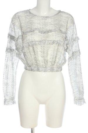 Zara Schlupf-Bluse hellgrau-weiß Casual-Look
