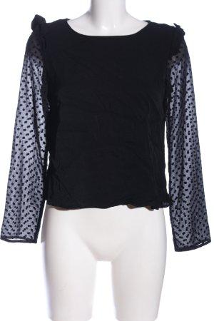 Zara Schlupf-Bluse schwarz Punktemuster Casual-Look