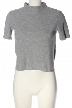 Zara Cropped Shirt hellgrau meliert Casual-Look
