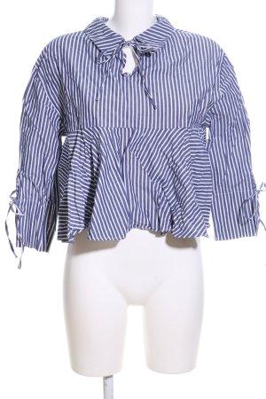 Zara Blouse à enfiler bleu-blanc motif rayé style décontracté