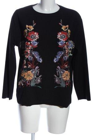 Zara Schlupf-Bluse schwarz-rot Blumenmuster Casual-Look