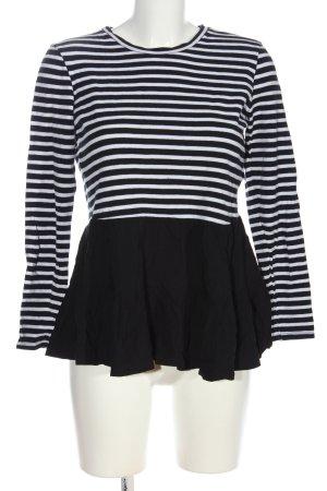 Zara Schlupf-Bluse weiß-schwarz Streifenmuster Casual-Look