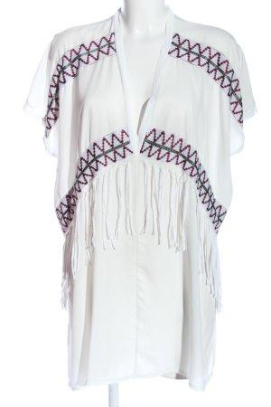Zara Schlupf-Bluse weiß-rot grafisches Muster Casual-Look