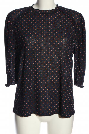 Zara Blouse à enfiler noir-orange clair imprimé allover style d'affaires