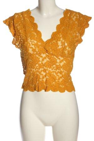 Zara Koronkowa bluzka jasny pomarańczowy W stylu casual