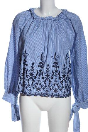 Zara Schlupf-Bluse blau-weiß Streifenmuster Casual-Look