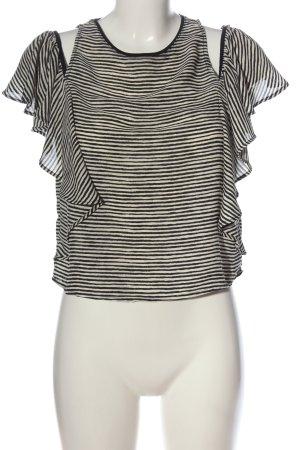 Zara Schlupf-Bluse creme-schwarz Streifenmuster Casual-Look