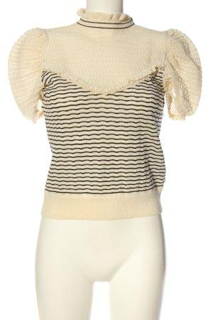 Zara Schlupf-Bluse creme-schwarz Streifenmuster Elegant