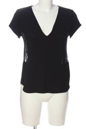Zara Schlupf-Bluse schwarz Webmuster Casual-Look